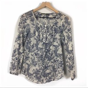 Zara Basic Blue Toile Print Button Up Top Size XS